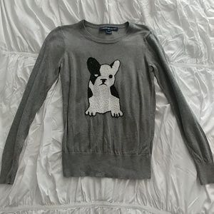 Gray Sweater with sequin dog